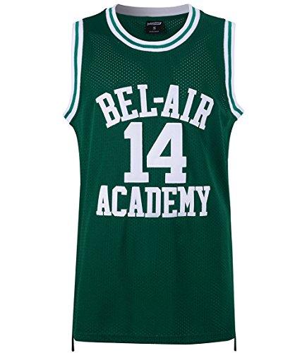 JOLI SPORT Will Smith #14 Jersey The Fresh Prince of Bel Air Basketball Jersey Mens Basketball Jersey S-XXXL(Green,S)