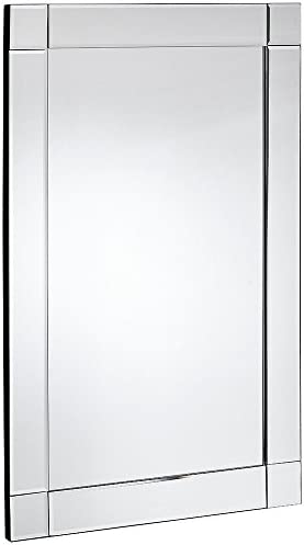 Hamilton Hills Large Squared Corner Beveled Mirror on Mirror Frame Premium Silver Backed Glass Panel Vanity, Bedroom, or Bathroom Mirrored Rectangle Hangs Horizontal or Vertical 20 x 30