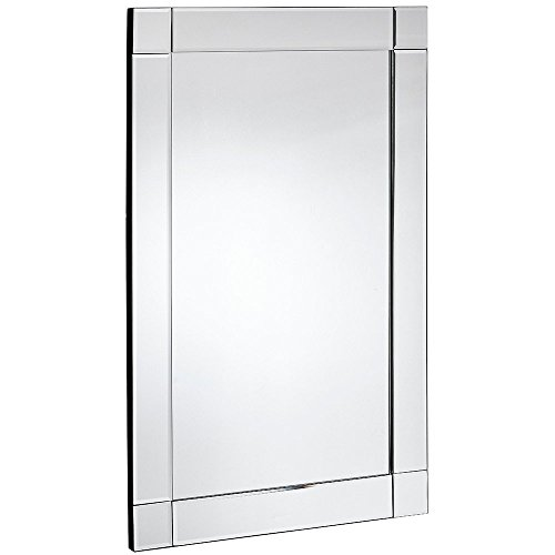 (Hamilton Hills Large Squared Corner Beveled Mirror on Mirror Frame | Premium Silver Backed Glass Panel | Vanity, Bedroom, or Bathroom | Mirrored Rectangle Hangs Horizontal or Vertical (20