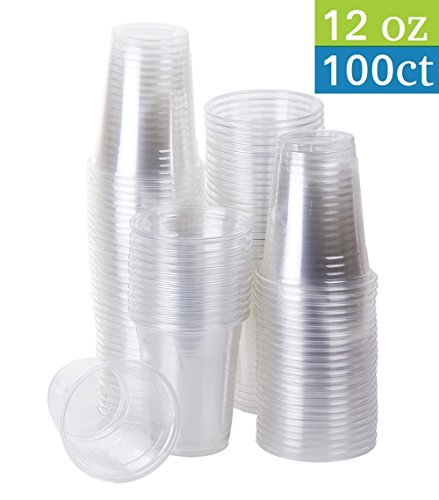 (TashiBox Clear Plastic Cold Drink Cups, 100 Count. (12)