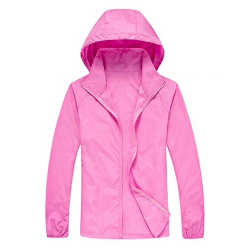 Tantisy ♣↭♣ Women Men's Waterproof Outdoor Active Hooded Rain Trench Jacket Sun Protection Clothing Overalls (with Pockets) Pink