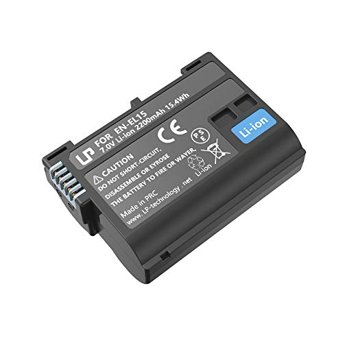 (LP EN-EL15 EN EL15a Battery, Lithium-Ion Battery, Compatible with Nikon D500, D600, D610, D750, D800, D800e, D810, D810a, D850, D7000, D7100, D7200, D7500, 1 v1, Z6, Z7 Cameras, MH-25 MH 25a Charger)