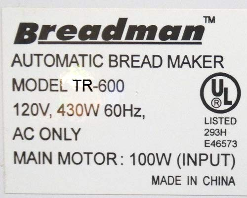 New Kneading Paddle Fits Breadman Model # TR600 Plus Vertical 2-Lb Loaf Automatic Bread Baker Maker Machine TR-600 Breadmaker Piece Part Dough Arm Mixing Blade QVC K-4762 TR 600 [Kneader/Yeast Bundle] by Breadmaker Part Store (Image #2)