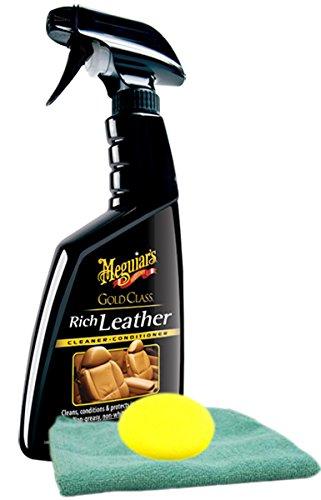 Meguiar's Gold Class Rich Leather Spray (15.2 oz.) Bundle with Microfiber Cloth & Foam Pad (3 Items) ()