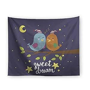 Good Night Starry Birds Animal Moon Theme Printing Tapestry Home Decorative Rectangle Wall Hanging Beach Towel Blanket Picnic Yoga Mat Living Room Dorm Decor