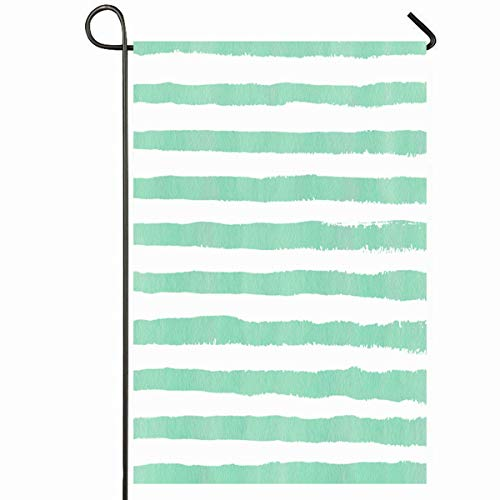 Ahawoso Outdoor Garden Flag 12x18 Inches Sky Paint Watercolor Seafoam Blue Brush Strokes On Retro Line Pattern Watercolour Modern Color Seasonal Home Decorative House Yard Sign