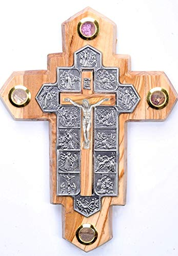 14 Stations Olive Wood Crucifix with Samples from The Holy Land (7 x 5 Inches)