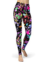 Women's Artistic Splash Printed 80s Leggings Brushed Buttery Soft Pants Regular and Plus Size