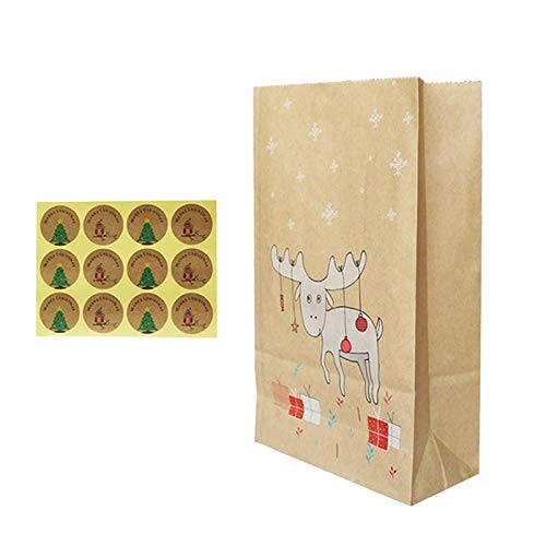 (JISETY 12Pcs Kraft Paper Bags Reindeer Pattern Printing Xmas Treat Gift Candy Sacks with 12 Sealing)