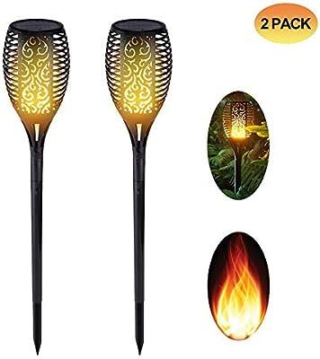 Spardar Luz Solar antorcha Jardín Parpadeante Luz de Llama 96 Led (2): Amazon.es: Hogar