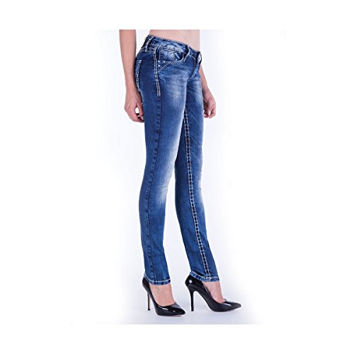 & Cipo Baxx Women's Big White Stitch Jeans Trousers Blue - CBW-639-blue-Blau