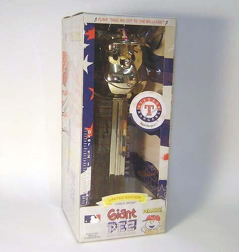 Giant Gold Limited Edition Musical Charlie Brown Texas Rangers Pez Candy Dispenser by Brand New -