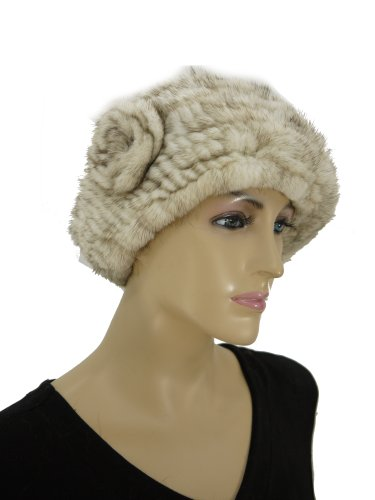 Knit Mink Beret Hat with Rosette - Off White