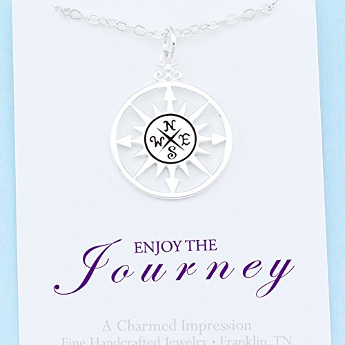 Enjoy the Journey • Sterling Silver • Compass Rose Necklace • 18 Inch Chain • Retirement . Travel . Adventure . New Beginning • Graduation (Love Journey Pendant)