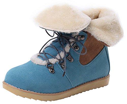 Easemax flache kurze Booties runde Zehe Frauen mit Faux Knöchelhohe Absatz beiläufige oben Blau versehene schnüren sich Wildleder q1Sx1pwUC