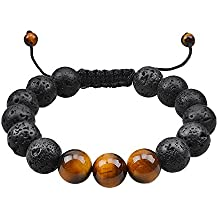 Jeka Men Women Lava Stone Bracelet Anxiety Aromatherapy Essential Oil Diffuser Natural Mala Beads Yoga Meditation Energy Jewelry Braided Rope Adjustable