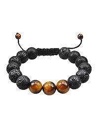 Lava Stone Bracelet Stretch Beads-Jeka Black Healing Jewelry for Men Women Handmade Braided Adjustable