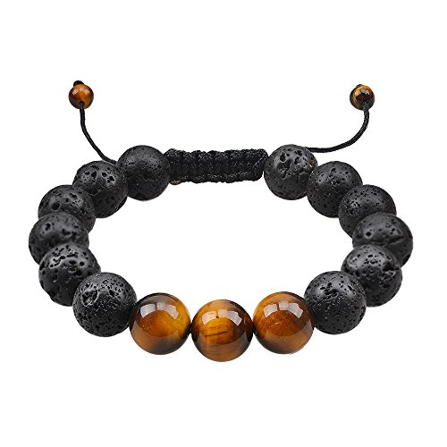 Natural Tiger Eye Bracelet Lava Rock Stone Diffuser Bracelet for Men Boy Essential Oil Diffuser Bracelet Men's Healing Energy Gemstone Mala Meditation Religious Jewelry ()