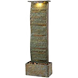 Kenroy Home 51025SL Meander Floor Fountain with Light, 49 Inch Height, Natural Green Slate