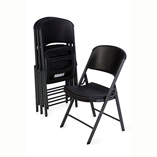 Lifetime 80187 Classic Commercial Grade Folding Chair, Black with Gray Frame, 4 Pack (Classic Chairs)
