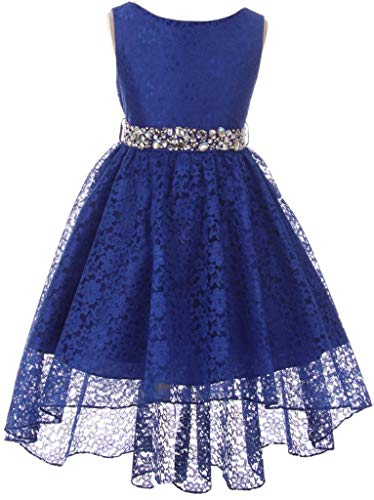 Big Girl Floral Lace Rhinestones Christmas Holiday Easter Flower Girl Dress Royal 14 MBK360