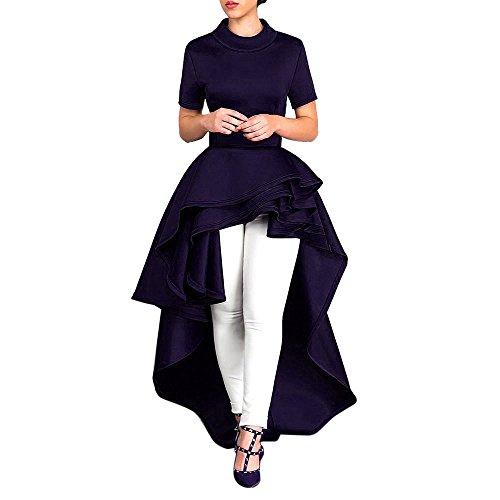 Verano Hoja Oscilación Con Ropa Y Flojo Casual Elegante Top Vestir Dwevkeful Dress Palacio Vintage Manga Aire Falda Corta Mujer De Capa Oscuro Vestido Azul Skirt Moda Loto OpZAn