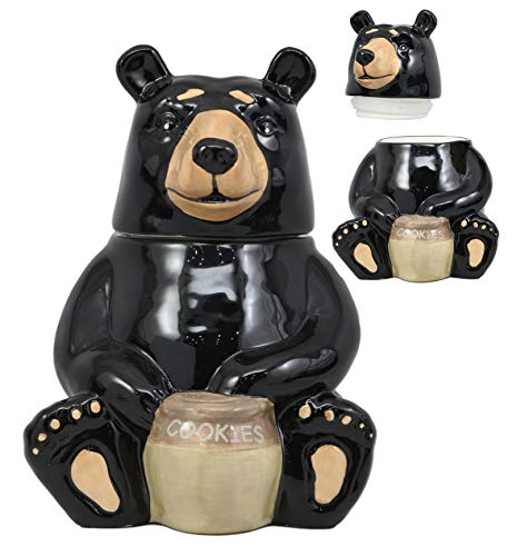 (Ebros Rustic Wildlife American Black Bear With 'Cookies' Honey Pot Ceramic Cookie Jar 8.25