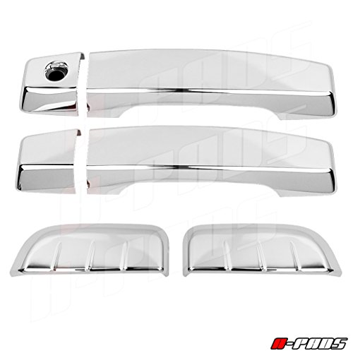 (A-PADS Chrome Door Handle Cover for Nissan Pathfinder 2005-2012 | 2 Front Doors and 2 Rear Side Doors | With Driver Side Smart Key Hole Access)