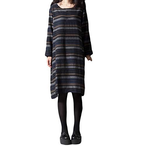 FeiXiang Robe Femmes Coton ray et Lin Robe Longue  Manches Longues Robe en Coton et Lin  Manches Longues et  Rayures Marine