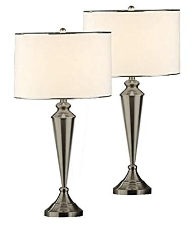 Set of 2 kings brand brush nickel metal fabric shade table lamps