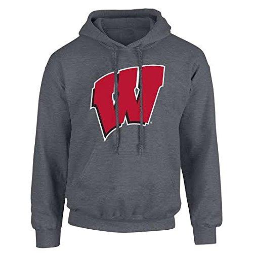 Elite Fan Shop NCAA Men's Wisconsin Badgers Hoodie Sweatshirt Dark Heather Icon Wisconsin Badgers Dark Heather Large