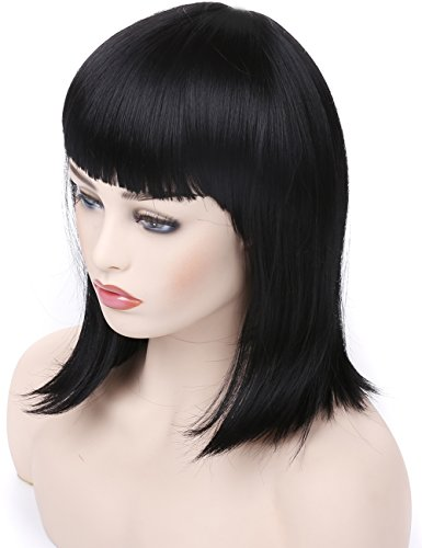 Morvally Short Straight Bob Wig Heat Resistant Hair with Blunt Bangs Natural Looking Cosplay Costume Daily Wigs (12