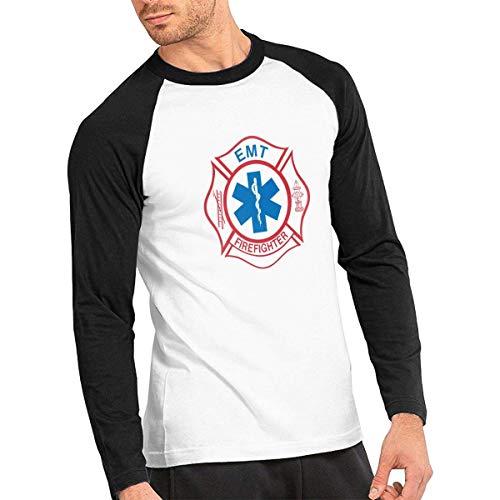EMT Firefighter Maltese Cross Mens Baseball Tee Shirts Long Sleeve Mens Raglan Tops Black