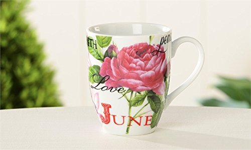 June Rose and Pearl Birth Month Porcelain 10 Ounce Birthday Mug Beautifully Boxed Featuring Birth Flower and Birthstone