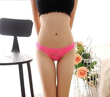 Ropa interior de encaje tanga sin costuras cintura femenina hilos,Rosa Roja