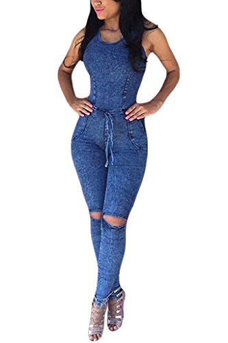 [Lovezesent Women's Denim Sexy Slim Bodycon Knee Slit Jeans Jumpsuit Small] (Sexy Outfit Women)