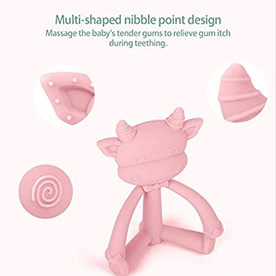 Baby Teether Food Grade Silicone Bite Resistant Cute Animal Infant Teething Chew Toys(Pink): Home Improvement