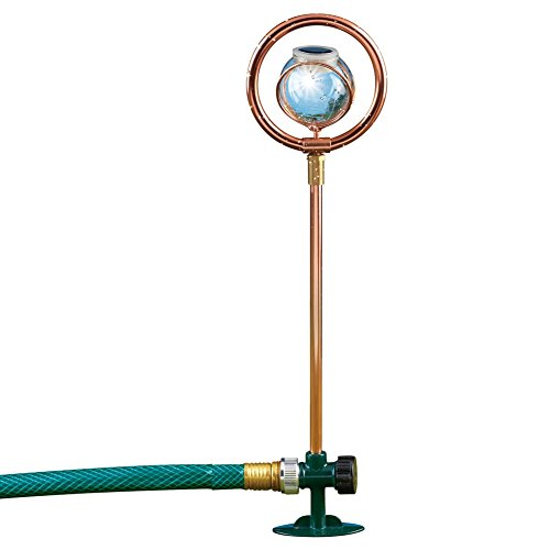 (Collections Etc Solar Glass Ball Sprinkler Pipe with Stake, Brown )