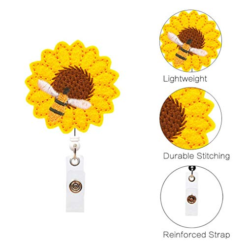 Glumes Sunflower Badge Reel Holder with Alligator Clip Retractable Cord ID Badge Reel Easy Retracting Reinforced Strap Accurate Stitching for Women Nurse -