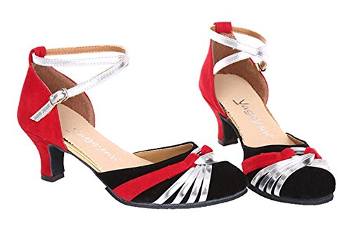 BININBOX Ladies Pleasant Dance Shoes With Heels Standard & Latin Red&silver kDDJzpq0