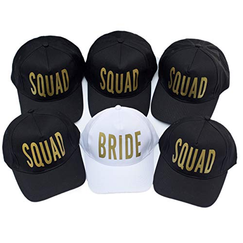 6 Pack Bride Squad Baseball Hat Bachelorette Party Bridal Wedding Shower Trucker Cap Adjustable Headwear
