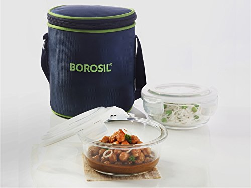 Borosil Glass Tiffin Set 400ml Set Of 2 (Tiffin Set)
