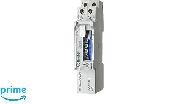 Finder 121182300000PAS - Interruptor horario diario 1 contacto 16 A - CA (50/60 Hz) - 230 V con reserva y batería Ni-MH incluida 9 x 18 x 65 cm color gris: ...