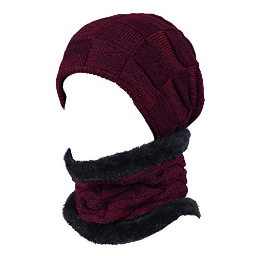 (Winter Beanie Hat Scarf Set Warm Knit Hat Thick Fleece Lined Skull Cap & Scarf for Men Women (Red-2018 Style))