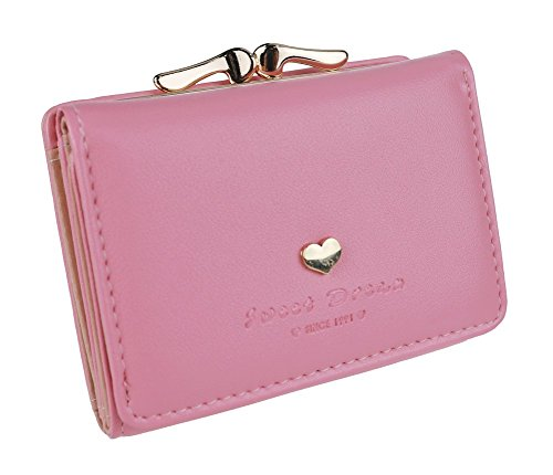 The Orient Bee Women's Mini Leather Wallet Kiss Lock Closure (One Size, pink) ()