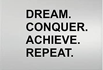 Dream Conquer Achieve Repeat Gym Fitness Motivational Vinyl Wall Decal Quote Wall Decor
