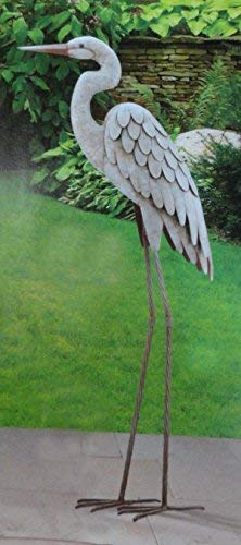 CHSGJY Vintage Egret Regal Garden Art 3D Decor Heron Bird Metal Statue Yard Indoor Outdoor - Garden Heron Statue Blue