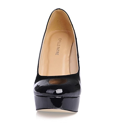 Las mujeres solteras cabeza redonda nueva oficina dama del zapato de cuero negro pintura impermeable áspero de escritorio al alto-heel shoes