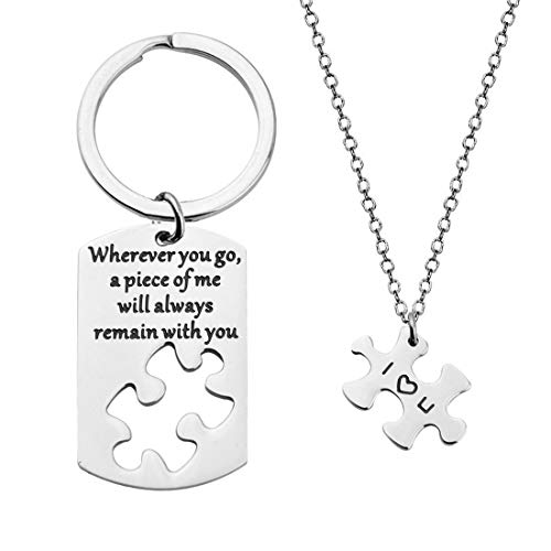 Zuo Bao Puzzle Matching Necklace Keychain Set Wherever You Go A Piece of Me Will Always Remain with You Dog Tag Keychain with Puzzle Necklace Gift for Her Husband Gift (Keychain and Necklace Set)