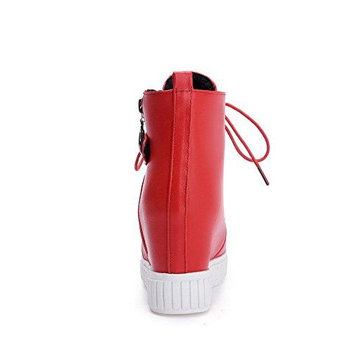 Allhqfashion Womens Low-top Cerniera Materiale Morbido Tacchi Tondi Stivali Chiusi Punta Rossa Rosso